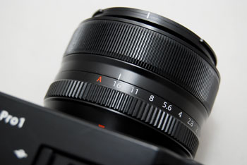 To activate Aperture Priority mode, simply turn the aperture ring to set the aperture value. To make it automatic, set to 'A'.