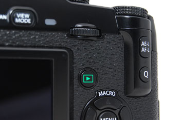 The X-Pro1 gains a thumb-rest which helps to provide a much better grip. Within easy reach is the new 'Q' (for Quick Menu) button,