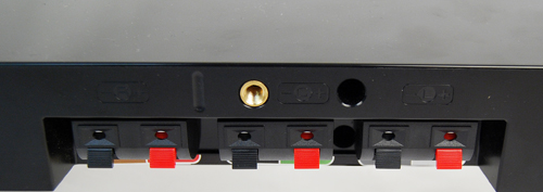 Connection with the receiver unit is made possible by the speaker wire clips at the back of the horizontal speaker unit.