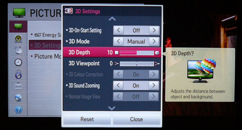 There are more 3D tweaks on the LM9600 compared to last year's models. In a nutshell, 3D Depth enables the viewer to adjust the distance between foreground objects and the background, while 3D Viewpoint supposedly allows  you to manipulate the perceived distance. Unfortunately, neither features were very convincing during our 2D to 3D conversion tests.