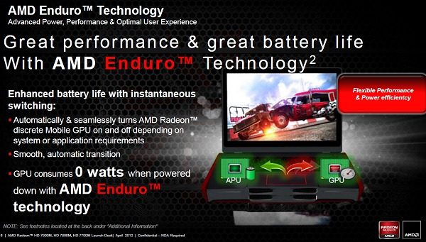 AMD Enduro technology takes switchable graphics technology a notch higher with better power control and automated logic for seamless user experience while knowing how to be power efficient.
