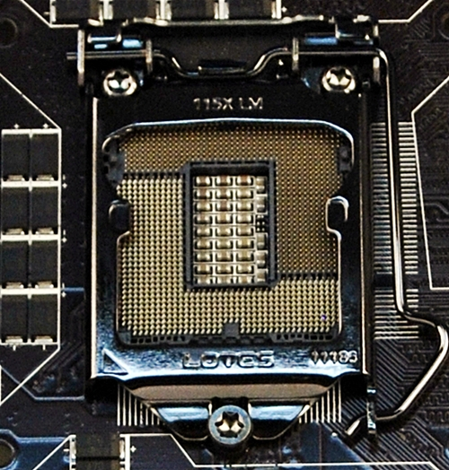 At a glance, the LGA1155 CPU socket is clear of obstructions; however, enthusiasts' (read large and beefy) CPU coolers will encroach on the nearer DIMM slots.