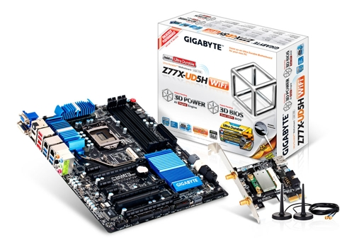 The GA-Z77X-UD5H-WB WIFI is a high-end board featuring the Z77 chipset. Compared to the G1.Sniper3, this board features one PCIe Gen 3 slot that runs at x16 but on the whole, this board features more PCIe slots as well as a single legacy PCI to ensure users have no shortage of expansion slots for their different requirements.