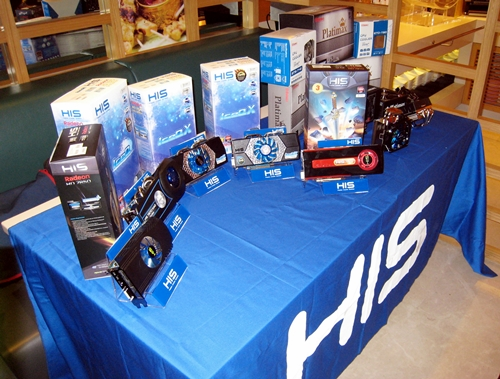 There was a HIS display showing some graphics cards based on AMD Radeon HD 7000 series GPU.