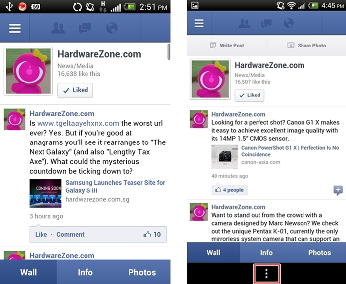HTC One V (Left) vs. HTC One X (Right) - You have to long press the multi-tasking button to get the app menu settings to appear.