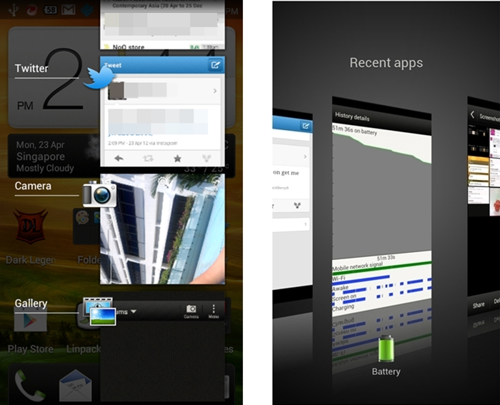 HTC One V (Left) vs. HTC One X (Right) - The One V references the Android 4.0 multi-tasking bar as compared to One X's 3D multi-tasking pages.