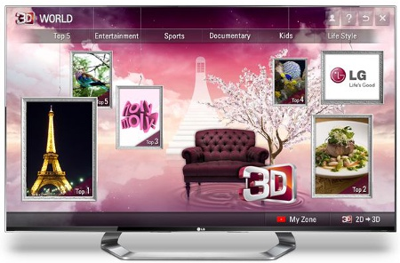 Home screen of 3D World. (Image source: LG)