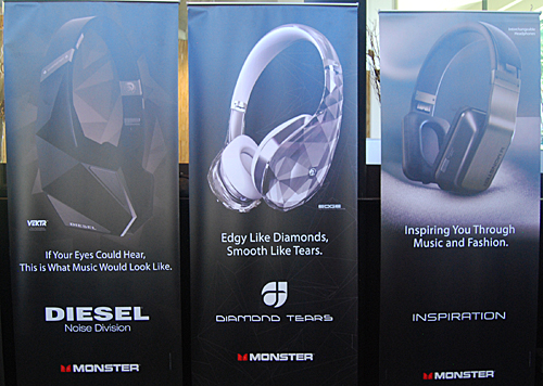 At the same time three new Monster headphones, namely the Inspiration, the Diamond Tears and the Diesel Vektr, were also unveiled.