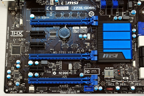 The board sports three PCIe Gen3 PEG slots (easily seen by their huge latches on this board) and four PCIe 2.0 x1 slots. The board has plenty of room for a multi-GPU setup.