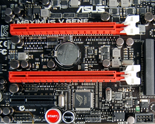 The two PCIe Gen 3 PEG slots, the first slot from the top operates at x16 for single card  usage and at x8 when both PEG slots are filled. The second PCIe Gen 3 slot operates at x8. Do note that full PCIe Gen 3 support is only possible if the board is paired with a third generation Intel Core i3/i5/i7 CPU. The lone black PCIe 2.0 slot operates at x4 mode.