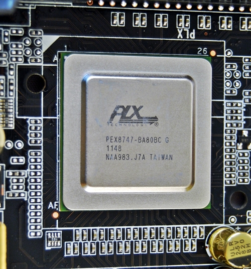 With the PLX PXE 8747 switching chip to help double the number of PCIe lanes supported, it will differentiate the ECS Z77H2-AX from the rest of its competitors due to the board's better multi-GPU handling capabilities. It is able to support a 2-way setup in x16/x16 mode or  x16/x8/x8 in tri-card mode.