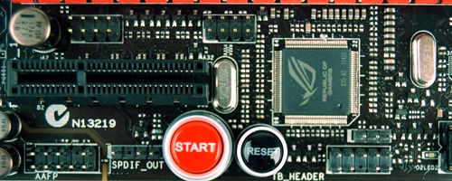 The ROG Connect controller chip sits above onboard start and reset switches.