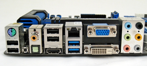 The Z77 chipset supports the integrated GPU of the Intel LGA1155 processors; hence, we see VGA, DVI, and DisplayPort outputs and any two of the video display ports can be used at the same time. The combination mouse-keyboard PS/2 port is a nod to gamers who crave for enhanced mouse sensitivity in games.