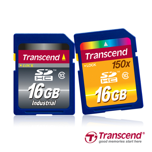 From L-R: The Transcend Industrial Grade SDHC Class 10 and 'Ultimate' SDHC150 SDHC Class 10