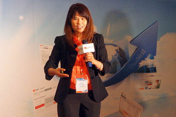 Trend Micro's co-founder and CEO Ms. Eva Chen's passion for security is still evident, judging by how she enthused about the latest trends and her company's products. A former executive VP and CTO of Trend Micro, she took over as CEO in late 2004. She recently received the Cloud Security Allianace Industry Leadership Award, and made the list in Forbes Asia's 50 Power Businesswomen for 2012.