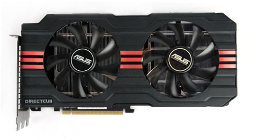 ASUS has added some nice AMD Red racing stripes down the middle of their Radeon HD 7970.