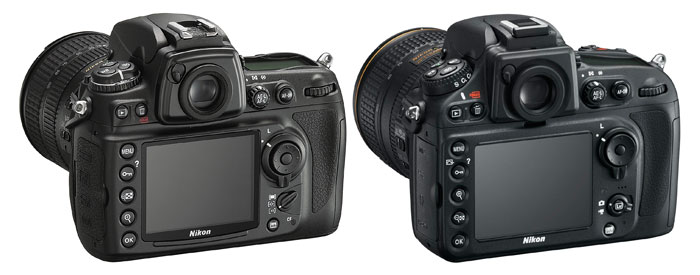 The D700 (left) and D800 (right). Image not to scale.