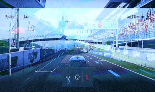 Here is a screenshot of Dual Play in action but minus the glasses. Essentially, both 2D screens are overlapped in 3D mode which makes it a rather 'trippy' experience for anyone who's watching the game without the Dual Play eyewear.