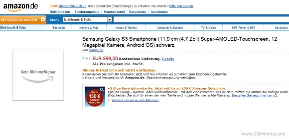 Amazon Germany pre-order page. (Image Source: GSMArena)