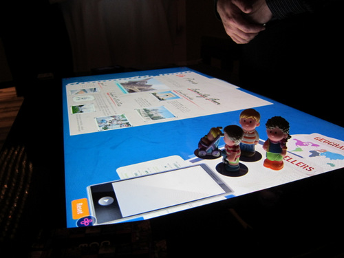 IR sensors detects shapes as well as tags, and in this case, tags were printed on the bottom of the figurines which interact with the Surface 2.0 application.