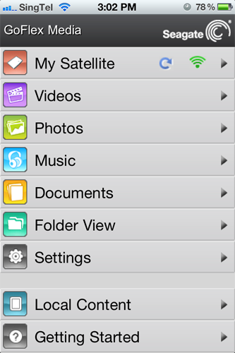 The iOS version of the free GoFlex Media app presented a similar looking menu screen.