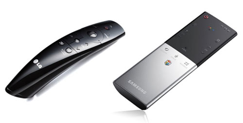 LG's revamped Magic remote (left) now features a scroll wheel and voice-recognition features. Samsung's sleek wand features a built-in microphone for voice controls, but is also equipped with a touchpad.