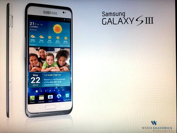 This image coming from Samsung's PR partner Weber Shandwick shows the possible actual image and launch date (May 22) of the Samsung Galaxy S III. (Image source: AsiaE)