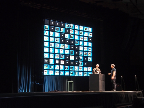 In order to show how scalable the GPU-Accelerated VDI environment is, the video wall showed 100 individual desktops in a Citrix VDI setup that is powered by a single server tucked at the bottom of the screen.