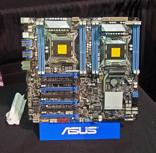 The ASUS Z9PE-D8 workstation motherboard. It features two LGA2011 sockets for Intel Xeon processors. The chipset of the board is Intel C602 Express.
