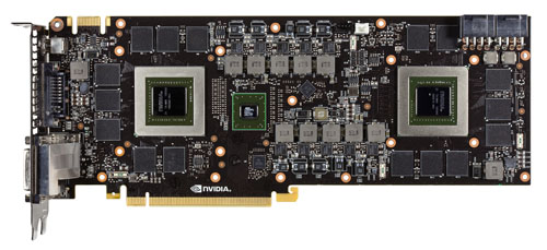 The 690 laid bare. You can see the SLI bridge chip between the two GPU cores that keeps them working in tandem.