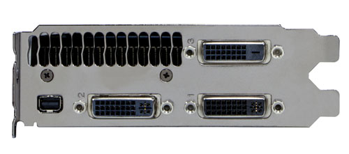 Three dual-link DVI ports similar to the GTX 590, but with a Mini-DisplayPort replacing the Mini-HDMI port.