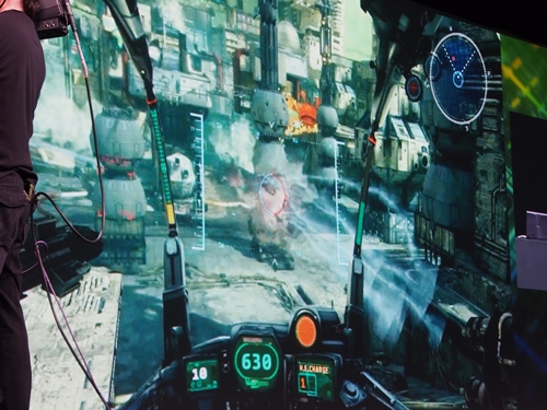 "The beautifully rendered cockpit of a mecha in the yet-to-be-released game ""Hawken"". It was revealed that Gaikai is in talks with Samsung as a cloud gaming service provider for Samsung's cloud gaming services that will be launched with its Smart TVs in the near future."