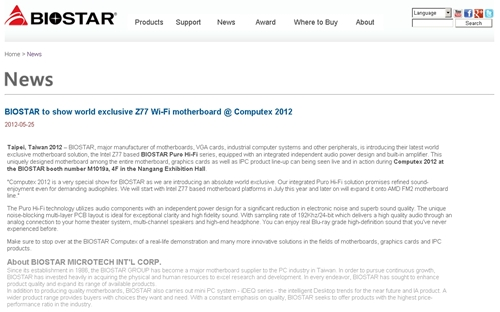 "Do not be confused as the press release on BIOSTAR's website has erroneously stated the new Z77 boards as ""Wi-Fi"" enabled."