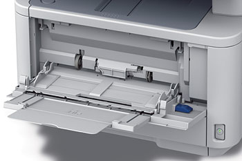 The multipurpose tray holds up to 100 sheets of paper. It can contain papers up to 52 inches (1320.8mm) long, so use it if you're printing something long, such as a banner.