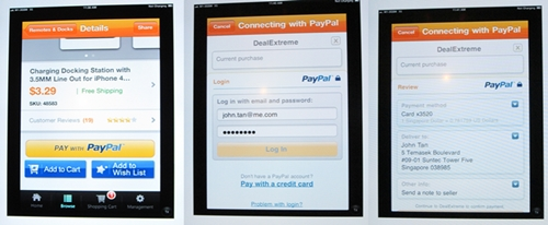 """The PayPal Mobile Payments Standard"" solution strives for mobile transactions to be completed in as little as two clicks."