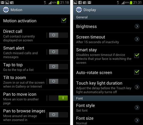 Some of these features have to be enabled before they can be used; you can easily do that under Settings.
