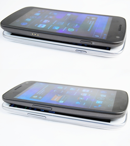 If you've not realized the likeness of the GALAXY Nexus in the GALAXY S III, you might see them in these comparison shots. Both phones are similarly curved and share many physical similarities (Nexus, top: 135.5 x 67.9 x 8.9mm, 135g, GALAXY S III: 136.6 x 70.6 x 8.6mm, 133g).