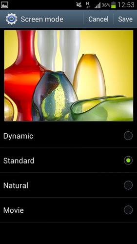 The Galaxy S III presents flexibility in terms of color saturation for users. To our knowledge, it is the only one on the market, other than its predecessor, that allows you to do so.