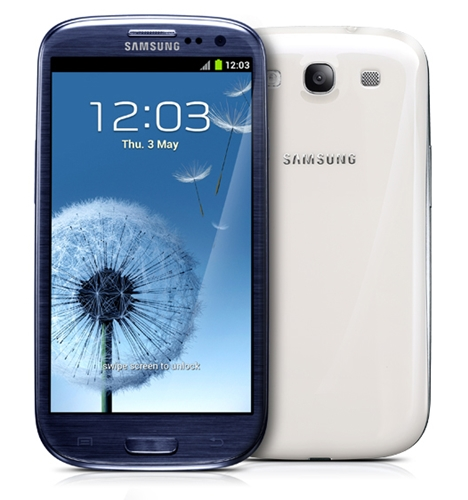 The Samsung Galaxy S III will be available in two shades: Pebble Blue or Marble White.