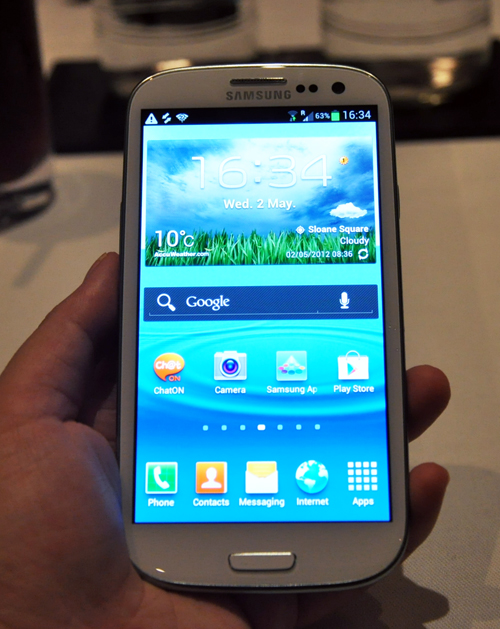 The Samsung Galaxy S III will be available in two colors: Marble White and Pebble Blue. Seen above is the white version.