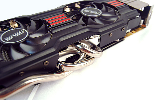 ASUS has employed their DirectCU II cooler on many cards in the past and on this card, the cooler has no less than five copper heat pipes (two on the other side).
