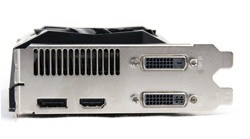 Display output ports layout is the same as a reference card - 2 x dual-link DVI, 1 x HDMI port and 1 x DisplayPort.