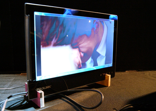 The USB-powered PRO1301WE features an LED edge-lit LCD monitor with a slim 8mm depth. It is displayed here in a standalone configuration, but note that those funky stands aren't included with this 13.3-inch monitor. Don't mistake this screen for a tablet.