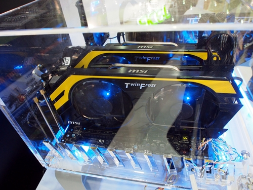 A pair of the newly launched MSI Lightning 680 cards that were installed on a MSI Big-BangXPowerII Intel X79-based board, powering the multi-display setup that showcased the 3DMark for Windows 8 (beta version).