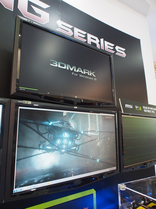 "The multi-monitor setup that was part of the demonstration system, showcased the beta version of 3DMark for Windows 8. The character in view reminded us of the Sentinel robot featured in the movie ""The Matrix""."