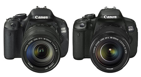 The Canon EOS 600D (left) and the new 650D (right).
