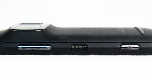 Side view profile (from left to right): Volume rocker, Lock screen toggle, Shutter button