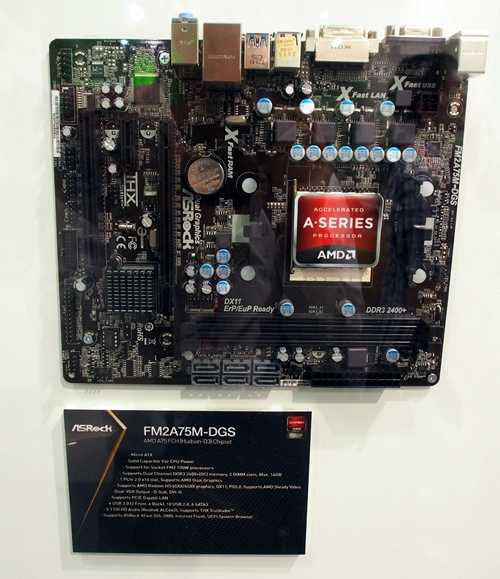The ASRock FM2A75M-DGS is a microATX board that has only two other expansion slots besides its PCIe x16 slot. It has a pair of DIMM slots for DDR3-2400+ memory modules up to a maximum capacity of 16GB.