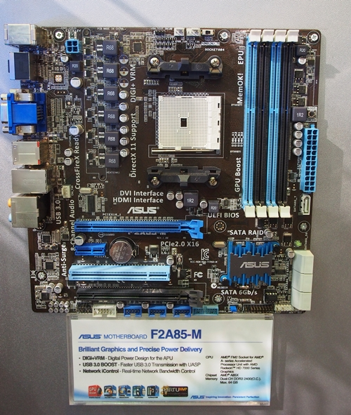 The ASUS F2A85-M sports two PCIe x16 slots and seven SATA 6Gbps connectors. Six of them are faced front while one is top-facing connector.