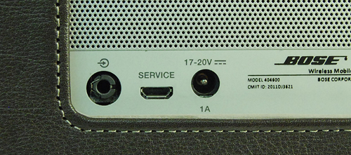 Ports are located on the back side of the product. You can see the 3.5mm port and a micro-USB port along with the connection for the power adapter. Note that the USB connection isn't for playback from storage devices but for firmware upgrades only.